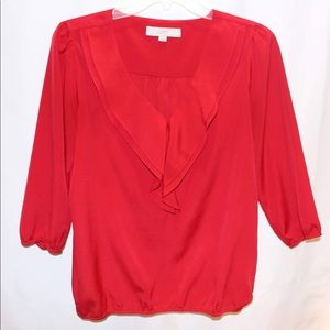 Loft Red silky ruffled blouse